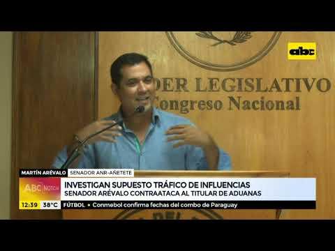 Senador Martín Arévalo contraataca al titular de Aduanas