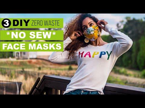 3 DIY *NO SEW* FACE MASKS | Zero Waste Tutorial