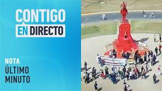 AHORA: Manifestantes pintan estatua del General Baquedano - Contigo En Directo