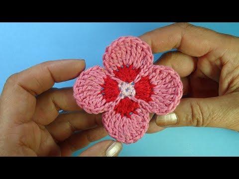 Простой цветок четырехлистник Ирландское кружево Crochet flower pattern