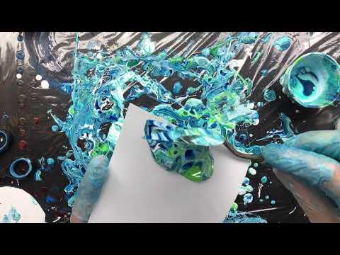 ( 636 ) Acrylic pouring same colours different pour