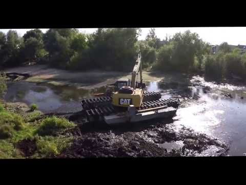 Amphibious Excavator on duty