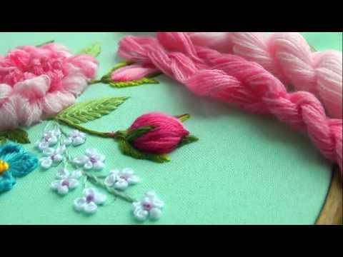 Flower Peony bud | satin stitch | Dimensional embroidery