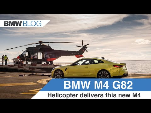 The new 2021 BMW M4 gets delivered by helicopter in Monaco