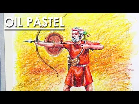 How to Draw An Archer in Oil Pastel | from Drawing to Coloring step by step
