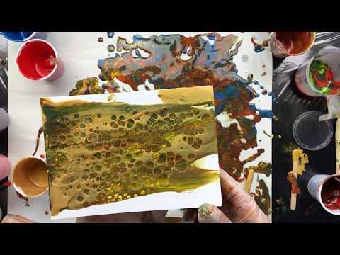 ( 642 ) Acrylic pouring gold metallic
