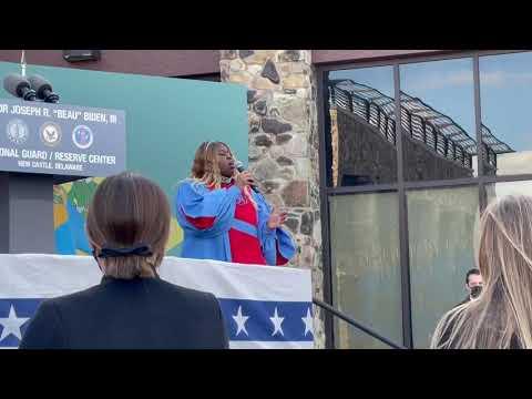 DSU student sings National Anthem at President Biden's Sendoff