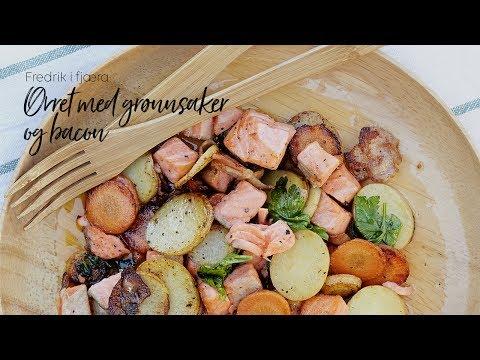 Ørret med grønnsaker og bacon