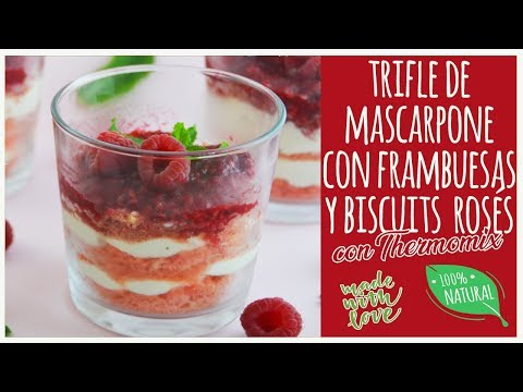 Trifle de mascarpone con frambuesas y biscuits rosés