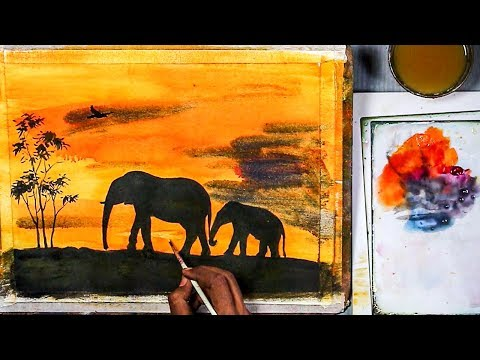 Beginners Acrylic Painting | 'Elephants in Sunset' silhouette painting