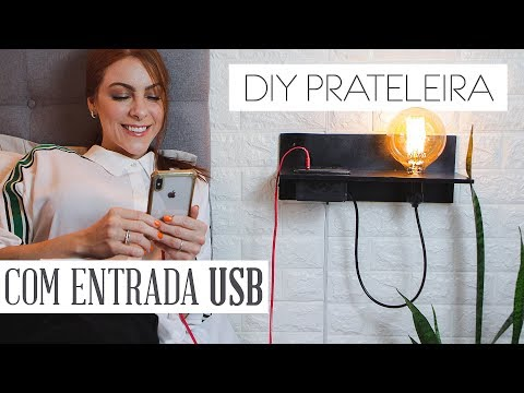 DIY Prateleira c/ Entrada USB, Tomada & Luminária – Pinterest Decor!