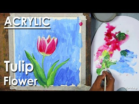 Acrylic Painting : Tulip | Learn how to give strokes in Acrylic