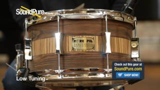 Pork Pie 7x13 Maple Snare Drum - Rosewood / Zebrawood Veneer Quick n' Dirty