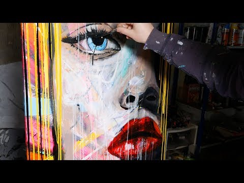 How To Paint Pop Art Painting with Abstract Painting Background | Lola | John Beckley