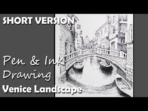Pen & Ink Drawing | Venice Landscape [SHORT VERSION]