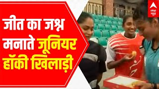 Ladoos, cake-cutting ceremony and smiles everywhere as junior Hockey players celebrate Olympic win - ABPNEWSTV