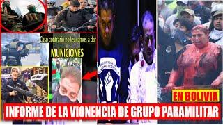 Informe el grupo Irregular Resistencia Juvenil Cochala Apoyados por el gobierno de facto en Bolivia