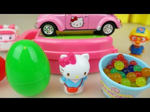 Hello Kitty bag and baby doll car toys surprise eggs play