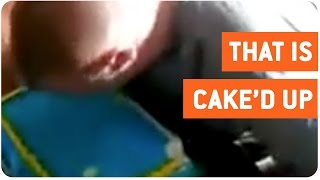 Guy Smashes Face Into Frozen Cake