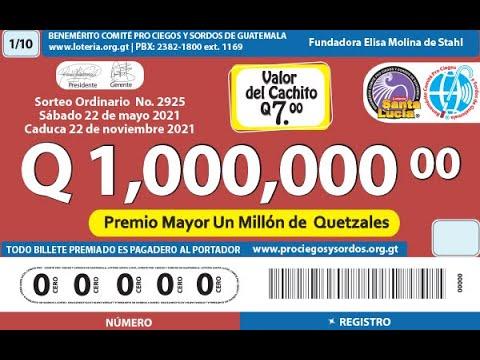 Sorteo Ordinario Millonario No. 2925