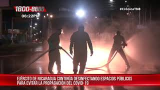 Ejército realiza desinfección en hospitales y centro comercial en Managua – Nicaragua
