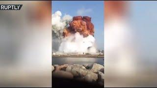 صياد صور لحظة انفجار مرفأ بيروت من البحر
