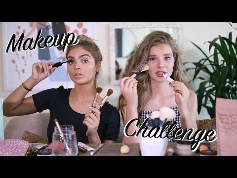 No Mirror Makeup Challenge | Ellie Thumann & Carrington Durham