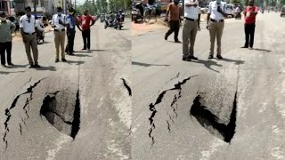 Huge Road Cracked, Damaged Near Kushaiguda, Hyderabad | TFPC - TFPC