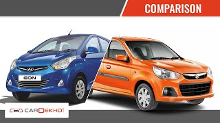 Maruti Suzuki Alto K10 vs Hyundai Eon | Comparison Video | CarDekho.com