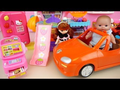 Baby doll food shopping car toys baby Doli slide house play
