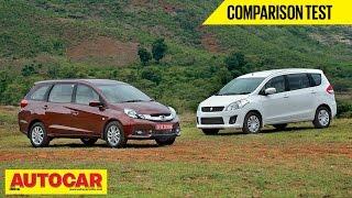 Honda Mobilio VS Maruti Suzuki Ertiga | Comparison Test | Autocar India