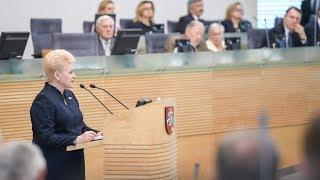 Lietuvos Respublikos Prezidentės Dalios Grybauskaitės metinis pranešimas