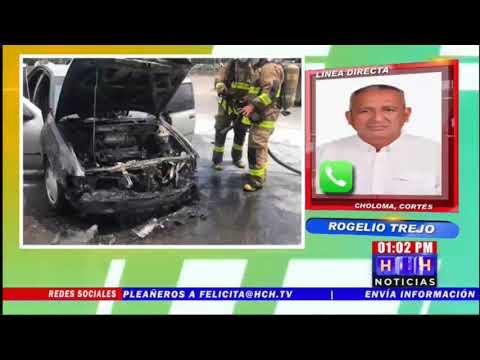 ¡Achicharrado! Carro fue presa de las llamas en Choloma