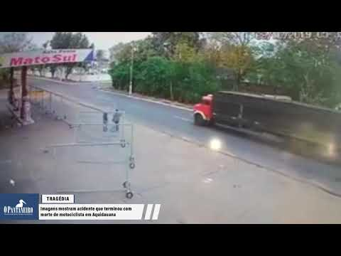 Vídeo: Imagens mostram acidente que terminou com morte de motociclista em Aquidauana