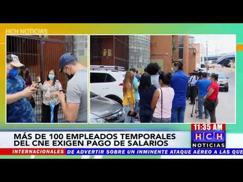 ¡Plantón! Empleados temporales del #CNE exigen pago por trabajo realizado durante Elecciones