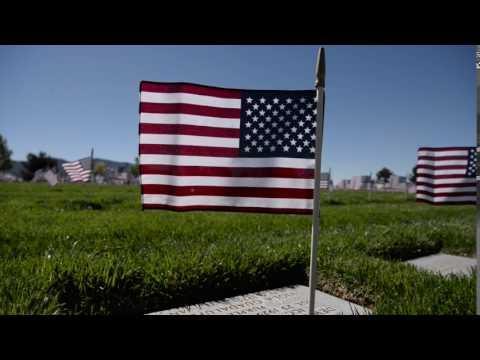 Flags on the Santa Fe National Cemetery