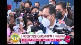 El hospital del Sur en El Alto recibió al presidente para suministrarle la vacuna