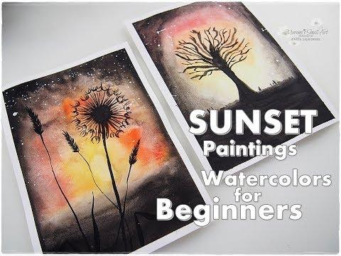 Beginners Dandelion & Tree Sunset Watercolor Easy Painting Tutorial
