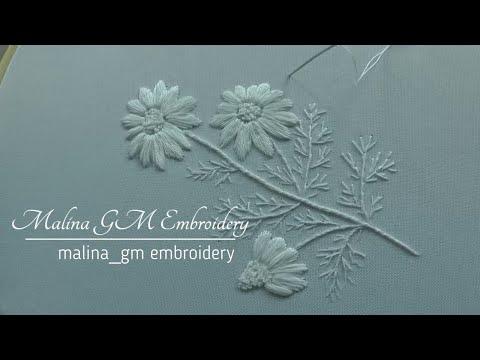 Hand Embroidery: White Work : Satin Stitch | White daisies | easy stitches