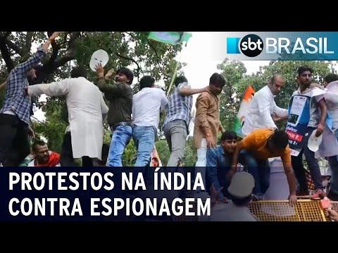 Programa de espionagem Pegasus: indianos protestam contra governo   SBT Brasil (21/07/21)