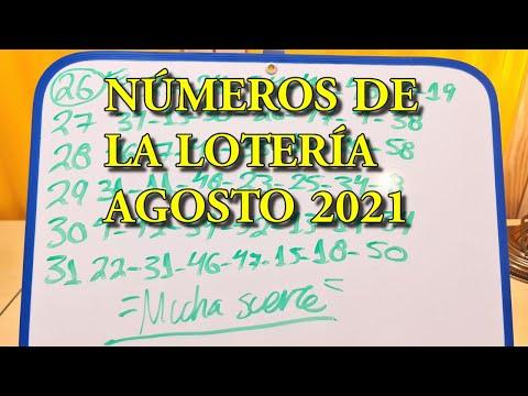 NÚMEROS DE LA LOTERÍA AGOSTO 2021 Conoce los números que mas salen en la lotería