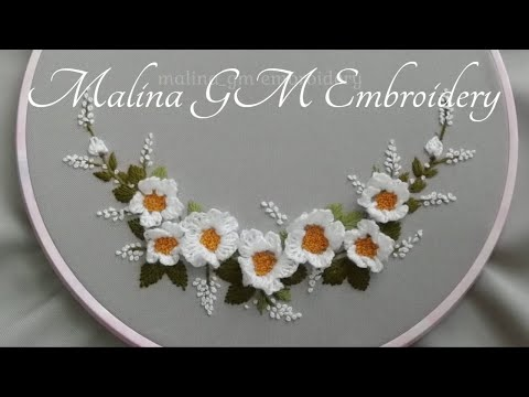 Floral Embroidery : Floral Wreath of White Air Flowers