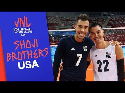USA's brothers Kawika & Erik Shojion sharing the court   VNL Stars   Volleyball Nations League 2019