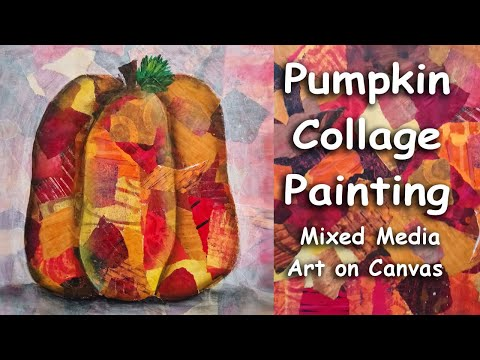 Collage Painting Harvest Pumpkin Mixed Media Art on Canvas