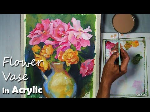 Acrylic Painting :  Flowers in the Vase | step by step long video