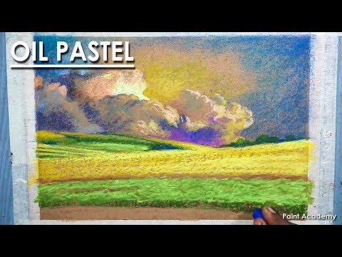 How to Draw A Beautiful Cloudy Sky and Land in Oil Pastel