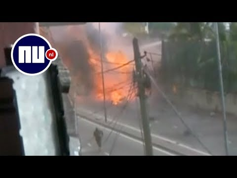 Cameraman filmt moment van nieuwe explosie in Sri Lanka