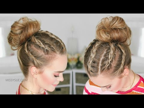 5 Dutch Braids High Bun | Missy Sue