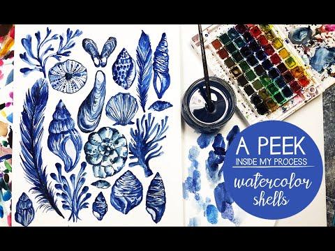 a peek inside my process- watercolor shells