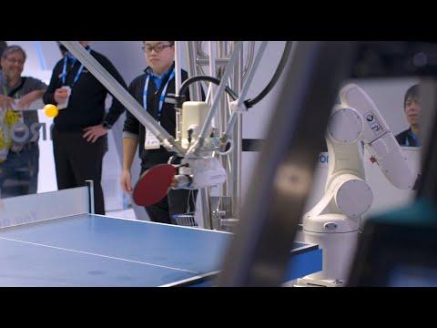 Ping-pong playing robot vs human